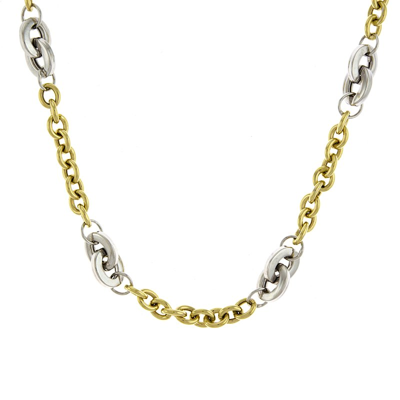 14k Yellow and White Mixed Link Necklace