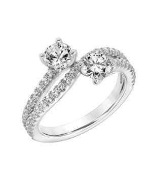 14k White Gold Two Stone Diamond Engagement Ring