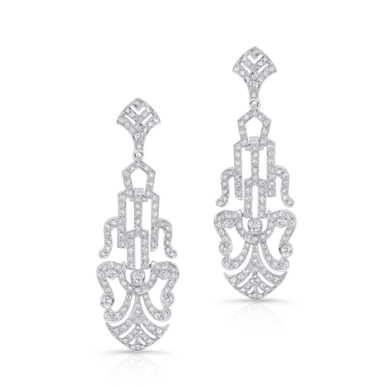 Extraordinary 18k White Gold Chandelier Earrings with Pavé Diamonds
