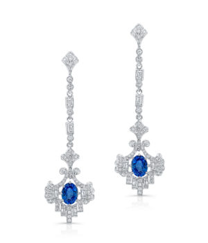 Gorgeous 18k White Gold Drop Earrings Feature a Single Oval Sapphire