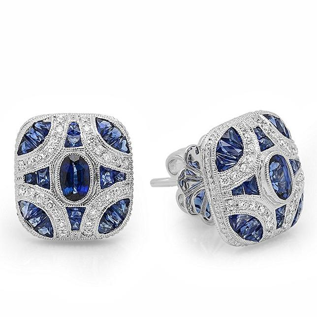 Hand-Crafted 18k White Gold Earrings with Blue Sapphires