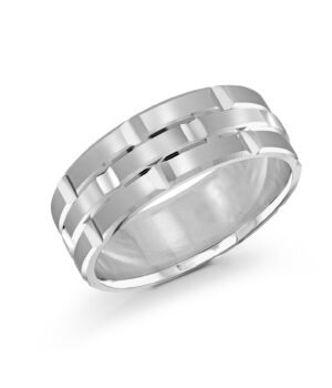 14k White Gold Mens Band