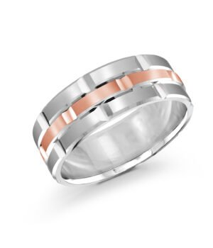 Stunning 14k White and Rose Gold Mens Band