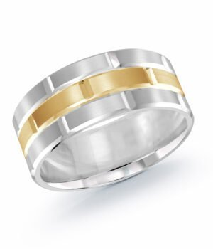 14k White and Yellow Gold 9 mm Band