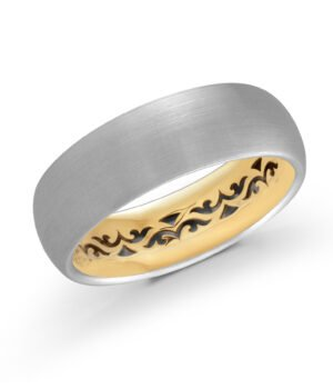 Elegant 14k White and Yellow Gold with Satin Finish