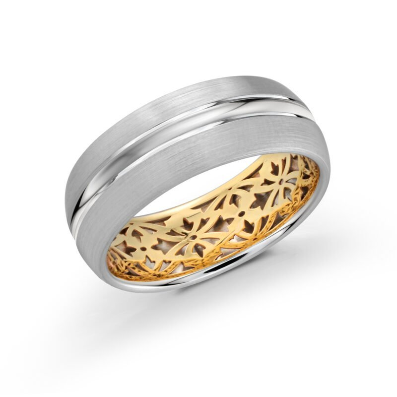 Gorgeous 14 White and Yellow Gold Band with Satin Finish