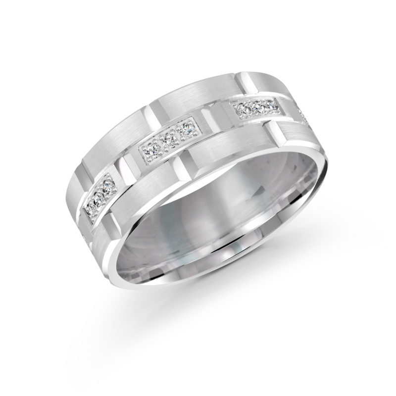 14k White Gold Mens Band with Round-Cut Diamonds