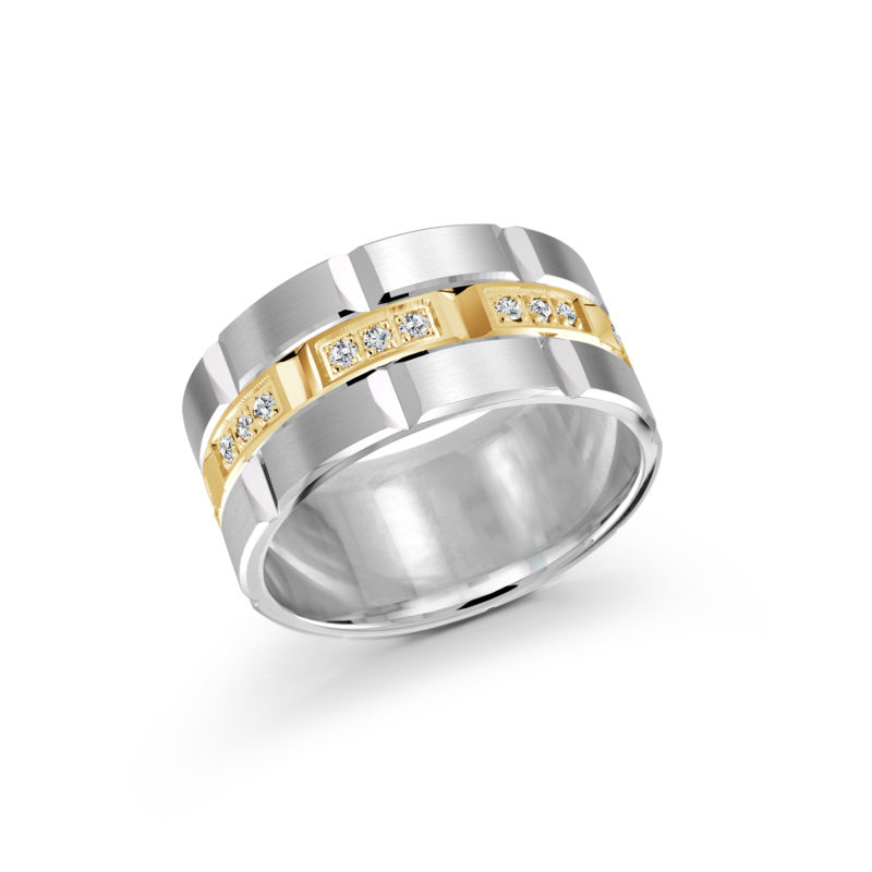 14k White and Yellow Gold Band with 24 Round-Cut Diamonds