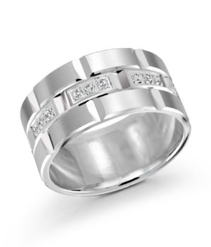 14k White Gold Band with 24 Round-Cut Diamonds