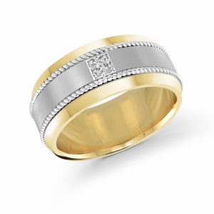 14k White and Yellow Gold Band with 4 Round-Cut Diamonds