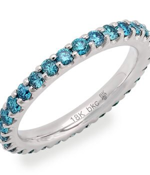 18k White Gold Eternity Band with Set Blue Diamonds