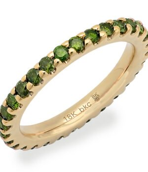 18k White Gold Eternity Band with Set Green Diamonds