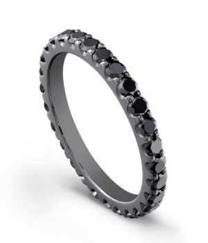 Rhodium & Black Diamond Eternity Band with Prong Set Black Diamonds