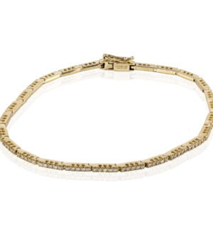 Beautiful 14k Yellow Gold One Row Diamond Bracelet