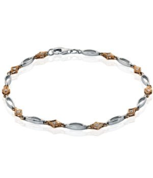Lovely 14k White and Rose Gold Bracelet with Diamonds