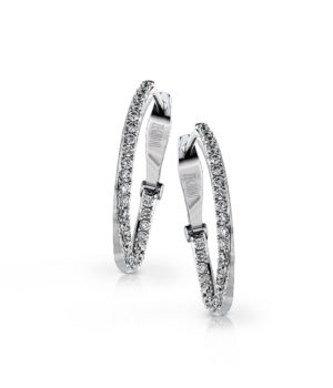 Trendy 14k White Gold Twist Hoop Earrings