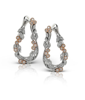 Organic Leafy Hoop Earrings in 14k White and Rose Gold