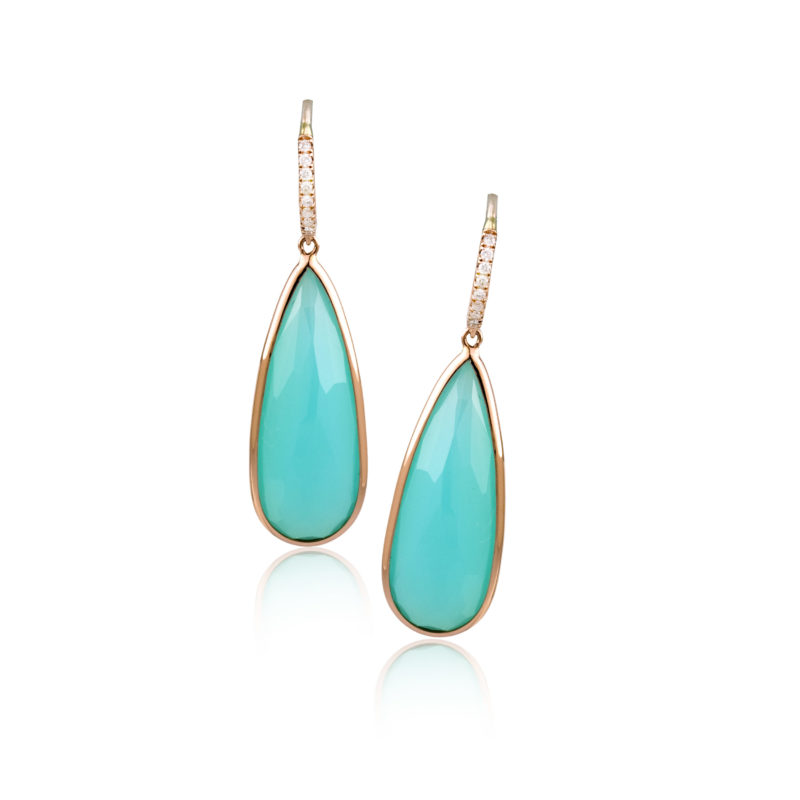 14k Rose Gold Earrings with White Diamonds and Green Chalcedony