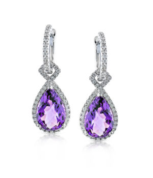 Fashionable 14k White Gold Earrings with Amethyst Centerpiece