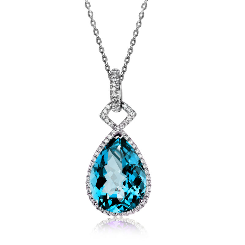 Stunning Pear Shaped Blue Topaz Pendant with 14K White Gold Mounting