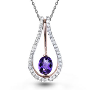 Elegant Amethyst Pendant Surrounded by 14k White and Rose Gold