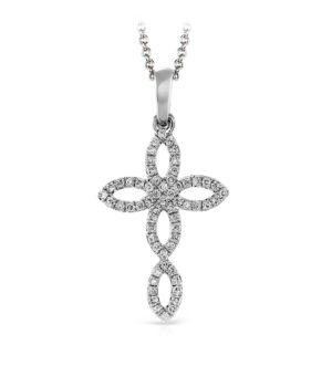 Zeghani 14k White Gold Cross Pendant
