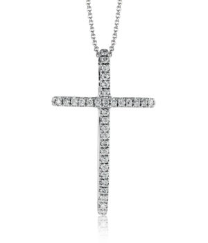 Zeghani 14k White Gold Cross Pendant with White Diamonds