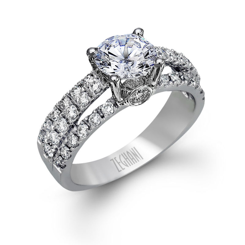 Lovely 14k White Gold Engagement Ring with Round Diamond