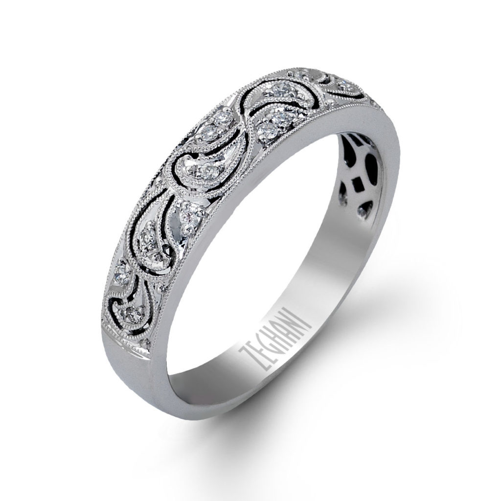 Lovely Lace Like Wedding Band in 14k White Gold