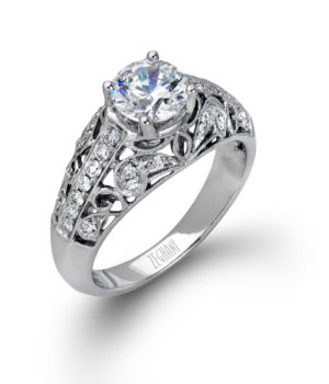Dominique 14k White Gold Engagement Ring with White Diamonds