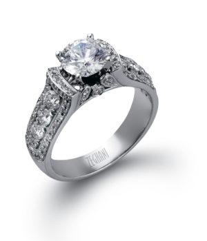 Sophisticated Cathedral Engagement Ring with White Diamonds