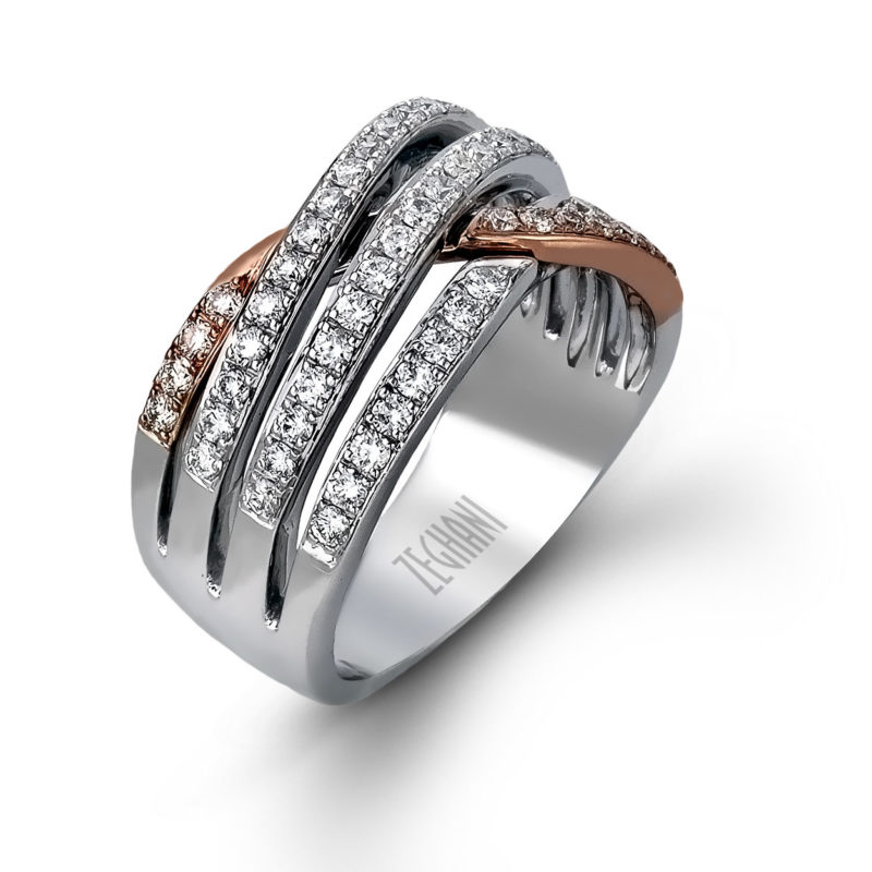 Romantic Rose Gold Ring Intertwined with White Gold
