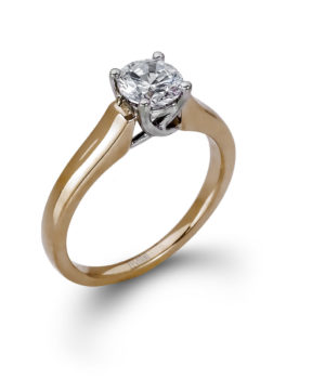 Sleek 14k Yellow Gold Semi-Mount Ring with White Gold Crown