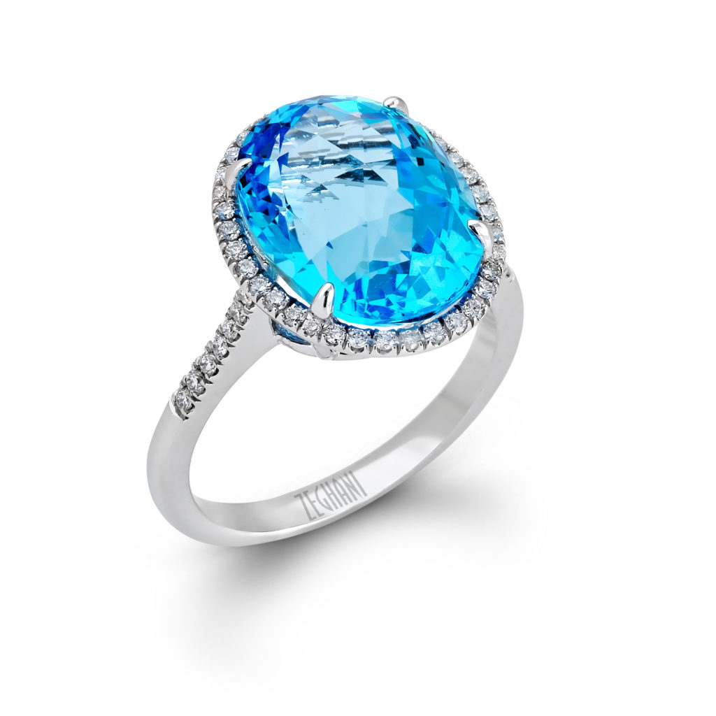 Exquisite 14K White Gold Ring with Blue Topaz