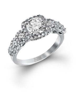 Elegant Graduated Halo and Diamond Engagement Ring