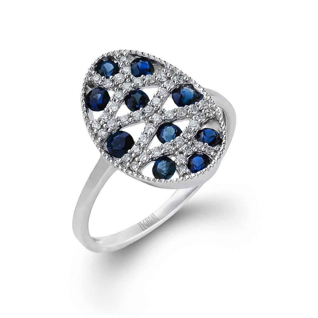 14k White Gold Ring Set with Natural Blue Sapphires