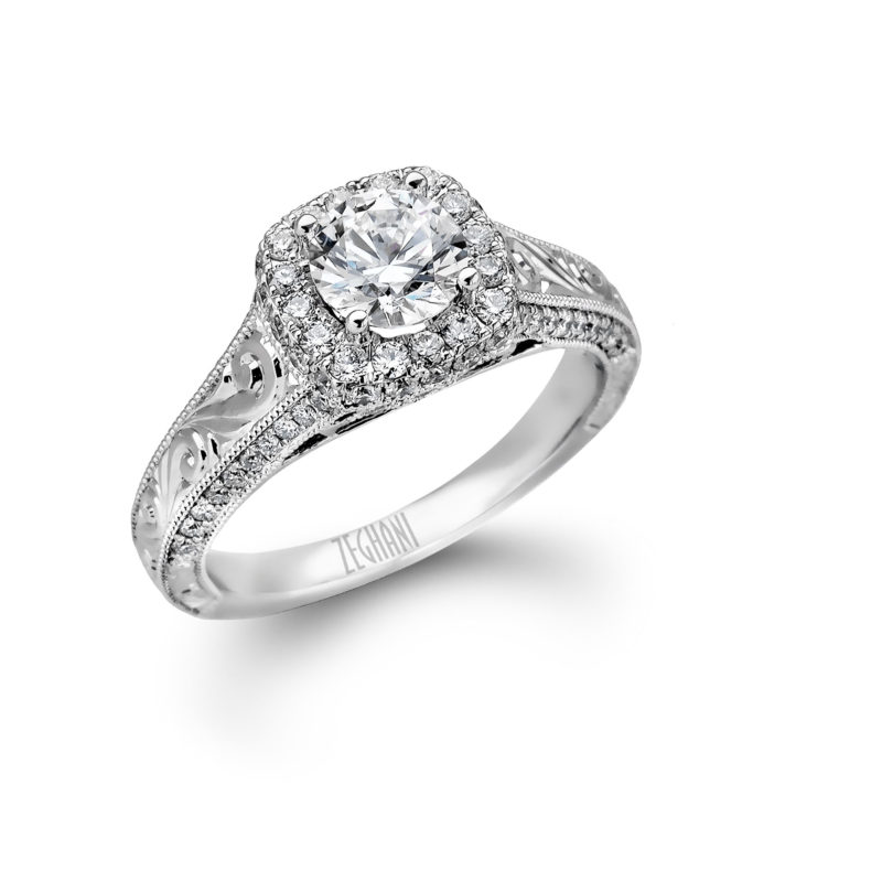 14K White Gold Engagement Ring with Hand Engraved Embellishments