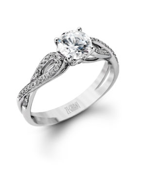 Lovely 14k White Gold Engagement Ring Set with Scintillating White Diamonds