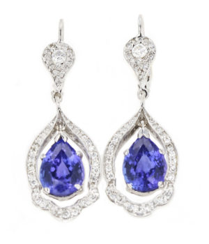 Beautiful Art Deco style Diamond drop earrings with pear shaped Tanzanites