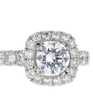 Platinum pave cushion shape engagement ring