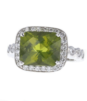 Cushion shape peridot ring