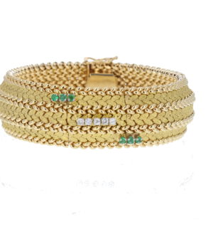 ESTATE 14K YELLOW GOLD MESH WATCH BRACELET WITH DIAMONDS AND EMERALDS
