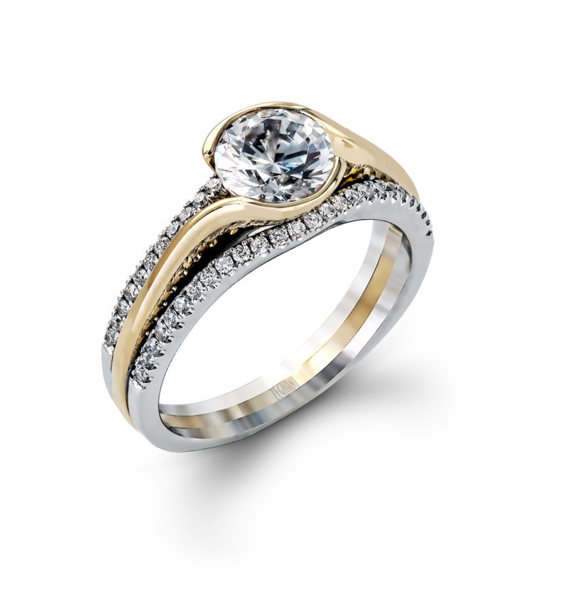 White And Yellow Gold Engagement Ring With Diamonds